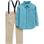 Toddler Boy Carter's Gingham Plaid Shirt, Suspenders & Pants Set