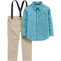 Toddler Boy Carter's Gingham Plaid Shirt, Suspenders & Pants Set