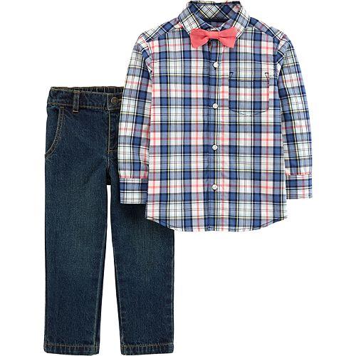 112a5cfdc Toddler Boy Carter's Plaid Shirt, Bow Tie & Jeans Set