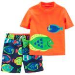 Toddler Boy Carter's 2 Piece Fish Rash Guard Top & Swim Trunks Set