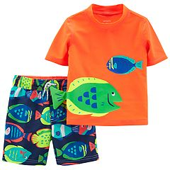Toddler Boy Carter's 2 Piece Fish Rash Guard Top & Swim Trunks Set