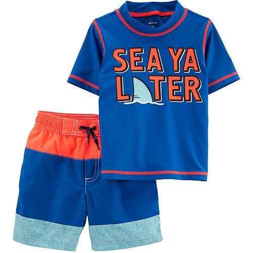 Toddler Boy Carter's 2-Piece Sea Rashguard Set