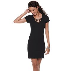 Juniors' Almost Famous Lace-Up Neck Bodycon Dress