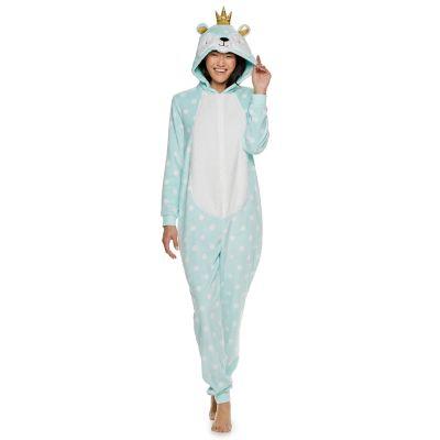 Juniors' Peace, Love & Fashion Bear One-Piece Pajamas