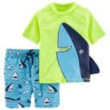 Toddler Boy Carter's Shark Rash Guard Top & Swim Trunks Set