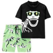 Toddler Boy Carter's Dinosaur Skeleton Rash Guard Top & Swim Trunks Set