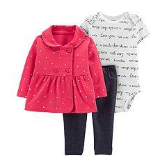 600884b883481 Baby Girl Carter's Polka-Dot Jacket, Script Bodysuit & Jeggings Set