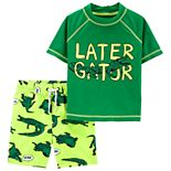Toddler Boy Carter's Gator Skeleton 2-Piece Rashguard