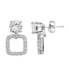 Pure Radiance Sterling Silver Lab-Created White Sapphire & Diamond Accent Convertible Post Earrings