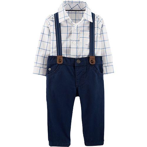 108d4e67c Baby Boy Carter's Plaid Bodysuit, Pants & Suspenders Set