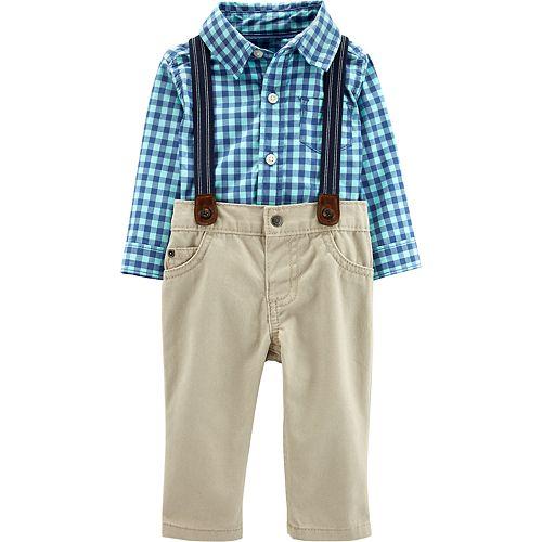 Long Sleeved Bodysuit /& Khaki Dungarees Set for Baby Boys Mickey Mouse Disney Grey