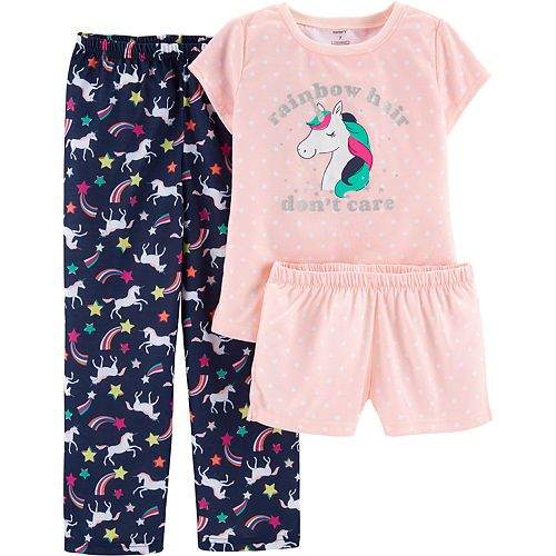 Girls 4-14 Carter's Unicorn Top, Shorts & Pants Pajama Set