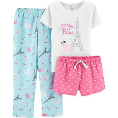 Girls 4-14 Carter's Printed Top, Shorts & Pants Pajama Set