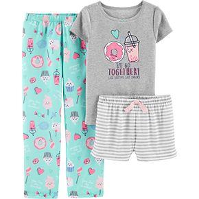Girls 4-14 Carter's Printed Top, Shorts & Pants Pajama Set