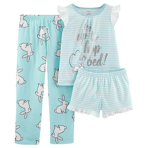 "Girls 4-14 Carter's Kitty Cat ""Caturday"" Top, Shorts & Pants Pajama Set"