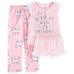 Girls 4-14 Carter's Kitty Cat 'Caturday' Top, Shorts & Pants Pajama Set