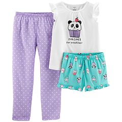 Girls 4-14 Carter's Kitty Cat 'Caturday' Top, Shorts & Pants Pajama Set