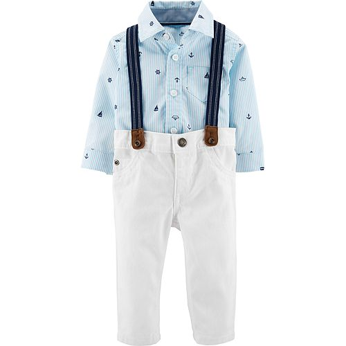 6d93deeea832 Baby Boy Carter's Nautical Bodysuit, White Pants & Suspenders Set