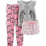 Girls 4-14 Carter's Top, Jogger Pants & Shorts Pajama Set