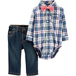 Baby Boy Carter's Plaid Bodysuit, Jeans & Bowtie Set
