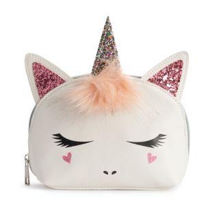 OMG Accessories Glitter & Faux-Fur Unicorn Dome Cosmetic Bag