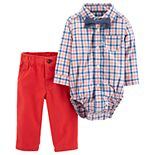 Baby Boy Carter's Plaid Bodysuit, Pants & Chambray Bowtie Set