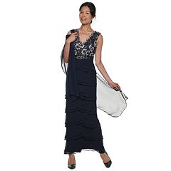 Petite Jessica Howard Layered Chiffon Maxi Dress