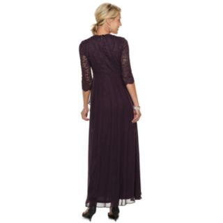 Petite Jessica Howard Beaded Waist Lace & Chiffon Gown