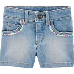 Toddler Girl Carter's Embroidered Heart Denim Shorts
