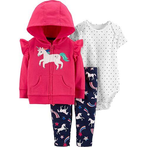 Baby Girl Carter's Unicorn Hoodie, Polka-Dot Bodysuit & Printed Leggings Set