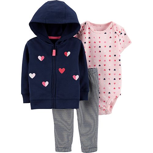 Baby Girl Carter's Heart Cardigan, Bodysuit & Striped Pants Set