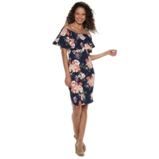 Juniors' Almost Famous Floral Off-The-Shoulder Dress