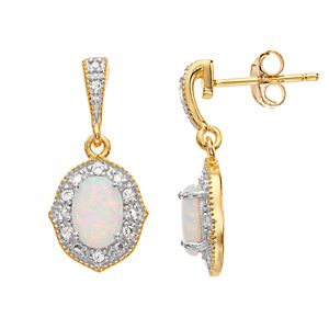RADIANT GEM Lab-Created White Opal & Diamond Accent Drop Earrings