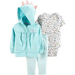 Baby Girl Carter's Dinosaur Hoodie, Bodysuit & Striped Leggings Set