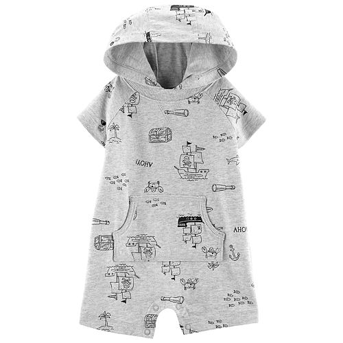 Baby Boy Carter's Pirate Ships Hooded Romper