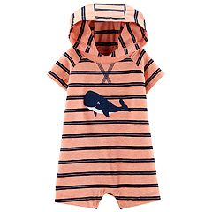 Baby Boy Carter's Striped Whale Hooded Romper