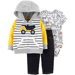 Baby Boy Carter's Dump Truck Hoodie, Printed Bodysuit & Jeggings Set