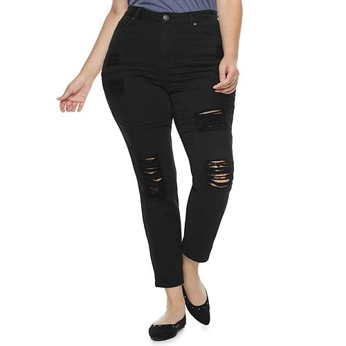 Juniors' Plus Size Almost Famous High-Waisted Destructed Skinny Jeans