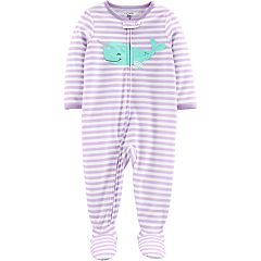 01ec81479c5d4 Baby Girl Carter s Striped Narwhal Footed Pajamas