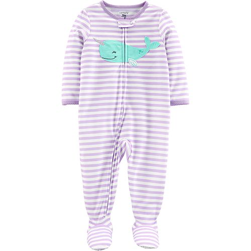 a43c33821 Baby Girl Carter's Striped Narwhal Footed Pajamas