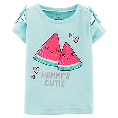 Toddler Girl Carter's Watermelon 'Mommy's Cutie' Bow Sleeve Graphic Tee