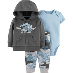 Baby Boy Carter's Dinosaur Hoodie, Bodysuit & Camouflage Pants Set