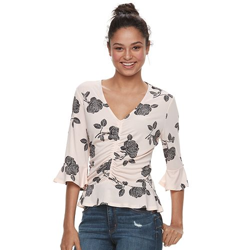 Juniors' Candie's® Printed Ruched Top