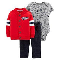 Baby Boy Carter's 'Awesome' Cardigan, Sports Bodysuit & Jeggings Set