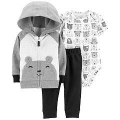 Baby Boy Carter's Bear Bodysuit, Hoodie & French Terry Pants Set
