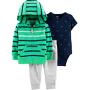 Baby Boy Carter's Whale Bodysuit, Striped Hoodie & French Terry Pants Set