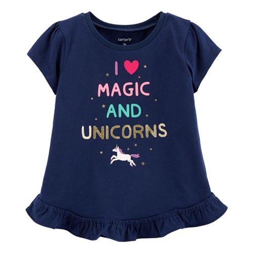 "Baby Girl Carter's ""I Love Magic And Unicorns"" Graphic Tee"