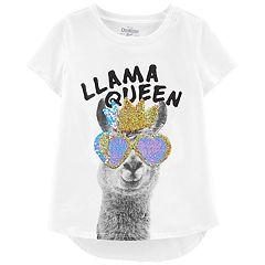 Girls 4-14 OshKosh B'gosh® 'Llama Queen' Flip-Sequin Graphic Tee