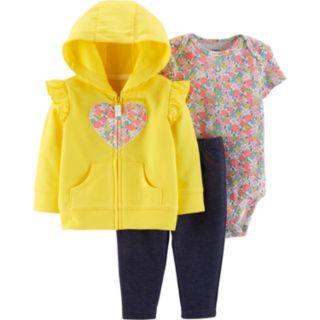Baby Girl Carter's Heart Hoodie, Floral Bodysuit & Jeggings Set
