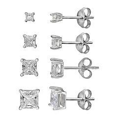 PRIMROSE Princess Cut Cubic Zirconia 4-Pair Stud Earring Set